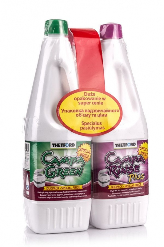 Domov a outdoor - Přípravek do chemického WC Campa Green + Rinse 2 x 1,5l Duopack