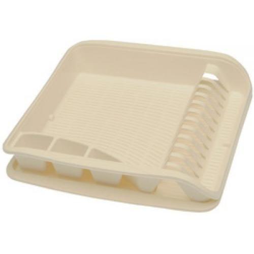 Organizace kuchyně - Odkapávač plastový s podnosem krémový 39,5x39,5 cm