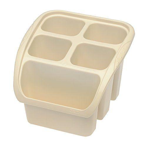 Organizace kuchyně - Odkapávač plastový na příbory krémový 16x16 cm