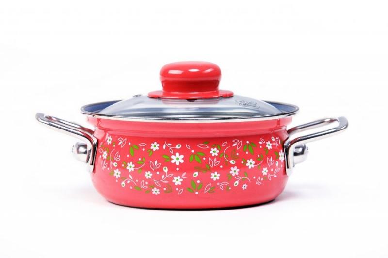 Vaření - Belis Romance 62524 Kastrol smaltovaný s nerezovými držadly 4,5 l