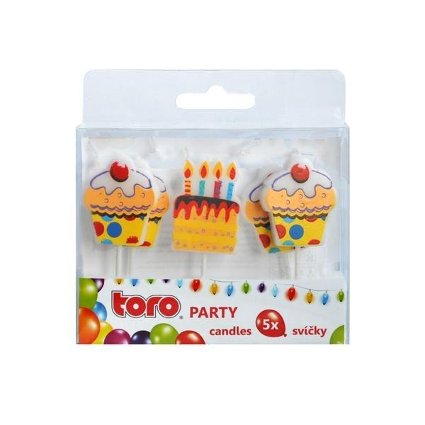 Domov a outdoor - Toro 263829 Party zapichovací svíčky dortíky 5 ks