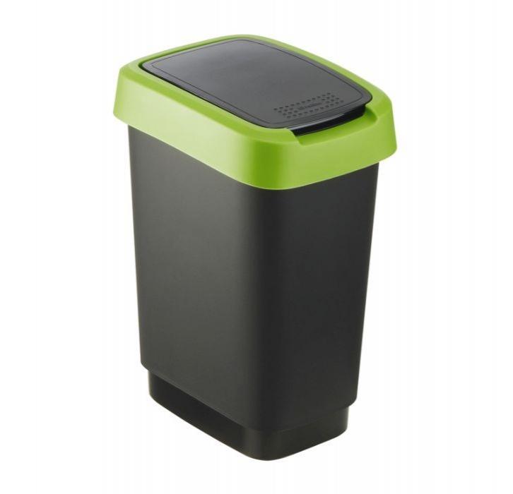 Domov a outdoor - Odpadkový koš Twist černý se zeleným víkem 10 l