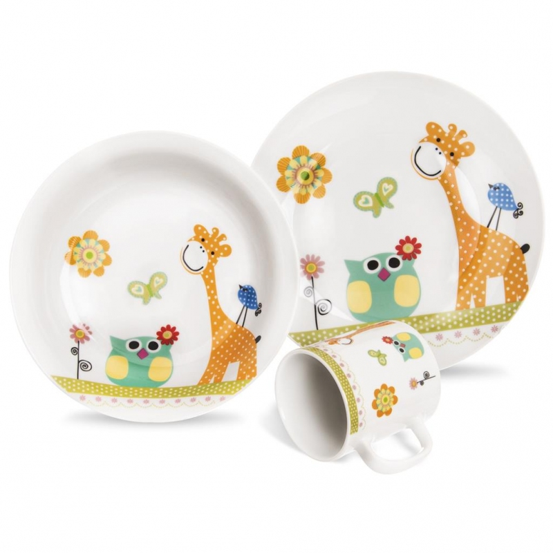 Stolování - Dětská porcelánová souprava ŽIRAFA 3ks