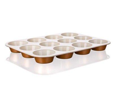 Pečení - BANQUET A03311 Pečící forma na muffins keramická 12KS 35x27x3 cm