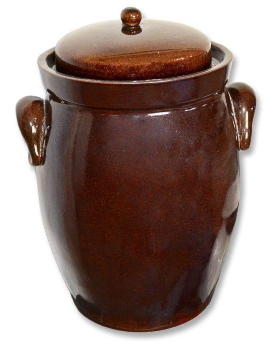 Skladování, přenášení - Keramika Krumvíř Zelák Buclák keramický hnědý 10l