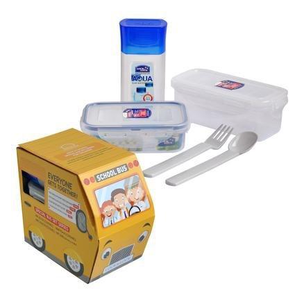 Skladování, přenášení - Lock&Lock HPL810CBS4A Sada dóz, láhev na pití a příbor pro děti