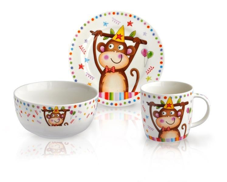 Stolování - Toro 590862 Dětská jídelní sada žirafa/opice 3 ks