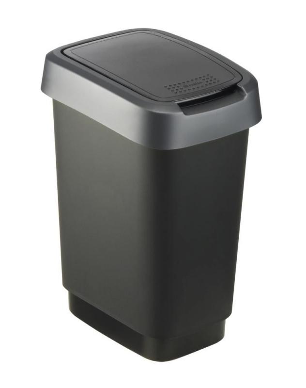 Domov a outdoor - Odpadkový koš Twist černý se stříbrným víkem 10 l
