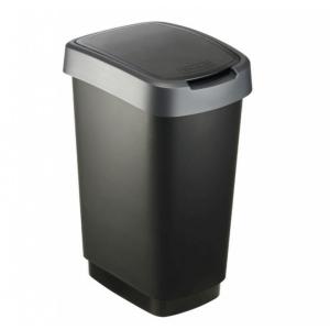 Odpadkový koš Twist černý se stříbrným víkem 25 l