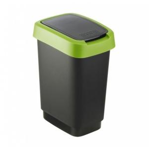 Odpadkový koš Twist černý se zeleným víkem 10 l