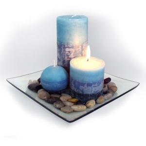 Svíčky - dárkový set 3ks+podnos